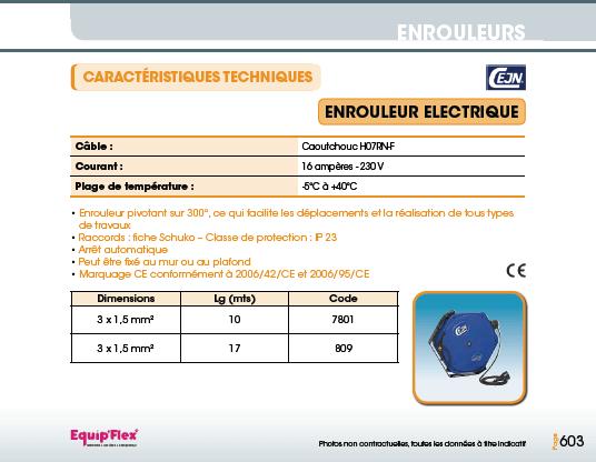 Enrouleurs acier et inox électrique et lampes rechargeables CEJN