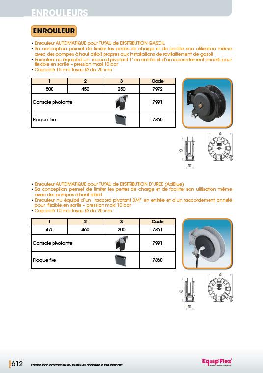 Enrouleurs acier et inox gasoil et AdBlue