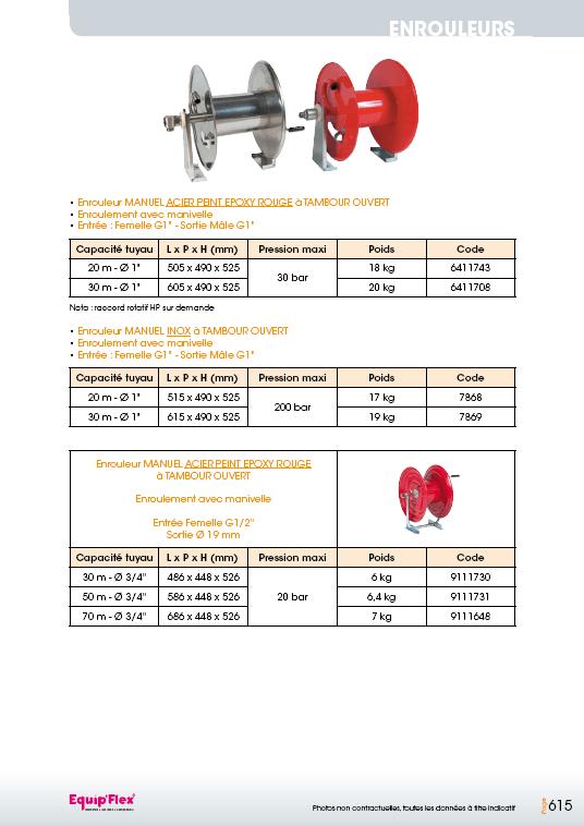 Enrouleurs acier et inox manuel tuyau 3/4 et 1