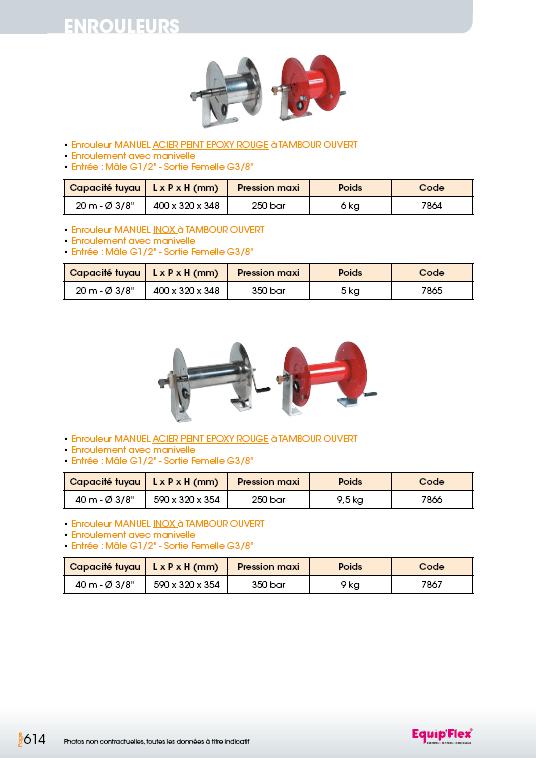 Enrouleurs acier et inox manuel tuyau 3/8