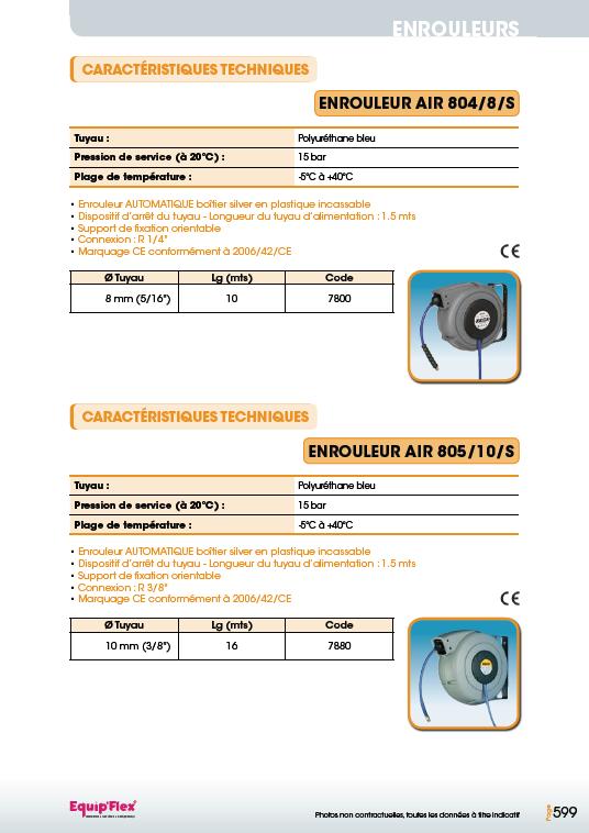 Enrouleurs acier et inox pour l'air PU-804, 8, S et 805, 10, S