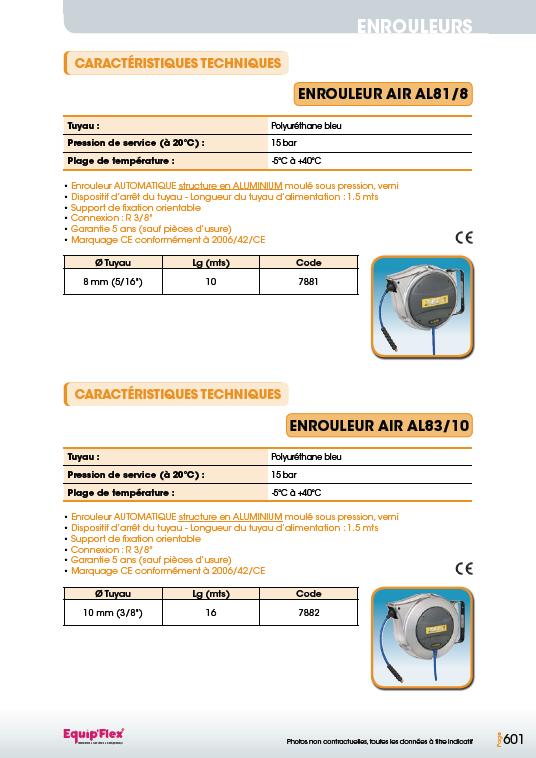 Enrouleurs acier et inox pour l'air PU-AL81, 8 et AL83, 10