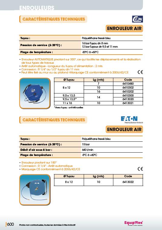 Enrouleurs acier et inox pour l'air PU-CEJN et EATON