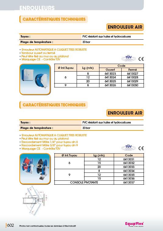 Enrouleurs acier et inox pour l'air PVC – TÜV