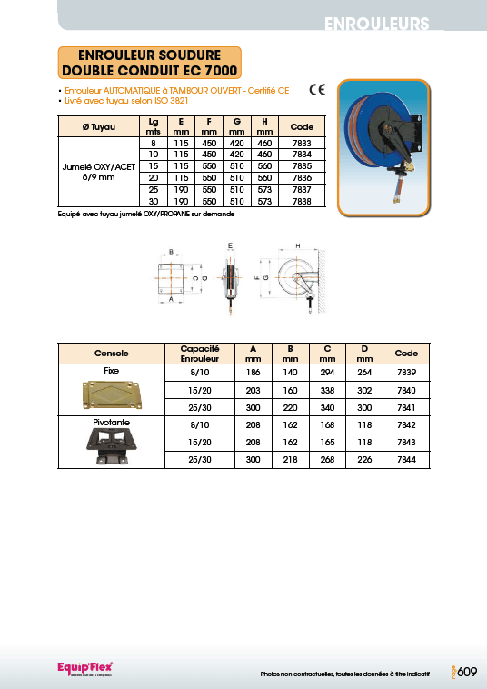 Enrouleurs acier et inox soudure double conduit EC 7000