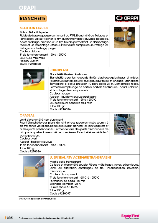 Étanchéité Sealflon Liquide, Jointplast, Oraseal, Lubriseal