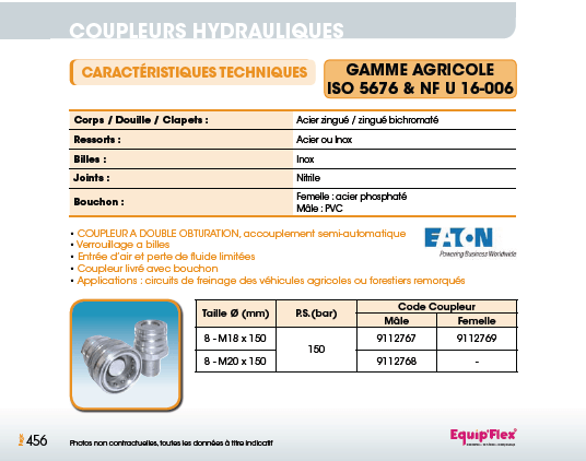 Gamme agricole ISO 5676 et NF U 16-006