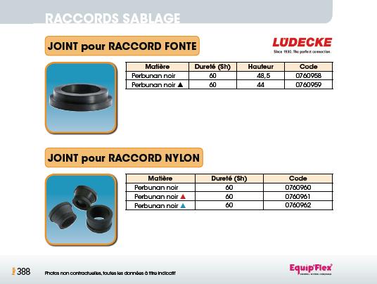 Joints pour raccords fonte et nylon