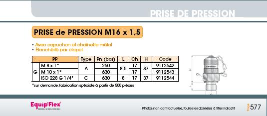 Prise de pression M16 x 1.5