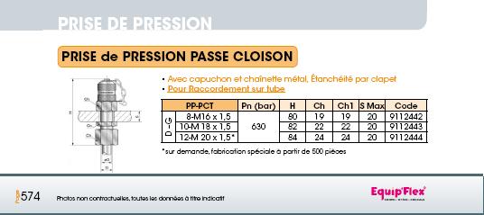 Prise de pression M16 x 2 passe cloison