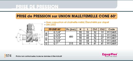 Prise de pression M16 x 2 union mâle femelle 60°