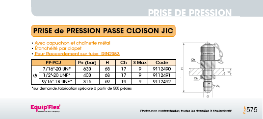 Prise de pression M16 x 2 passe cloison JIC