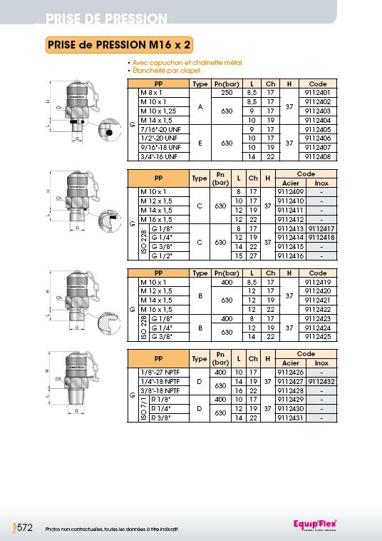 Prise de pression M16 x 2