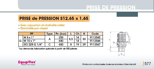 Prise de pression S12.65 x 1.65