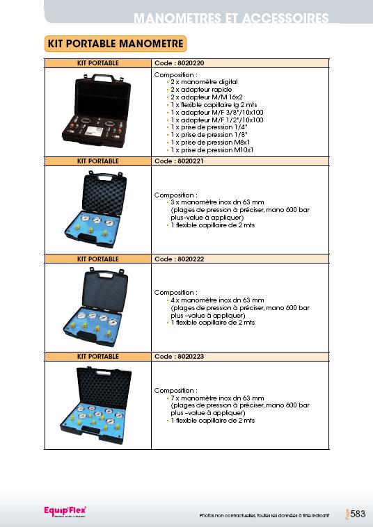 Prise de pression kit portable manomètre