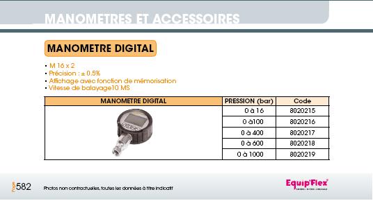 Prise de pression manomètre digital