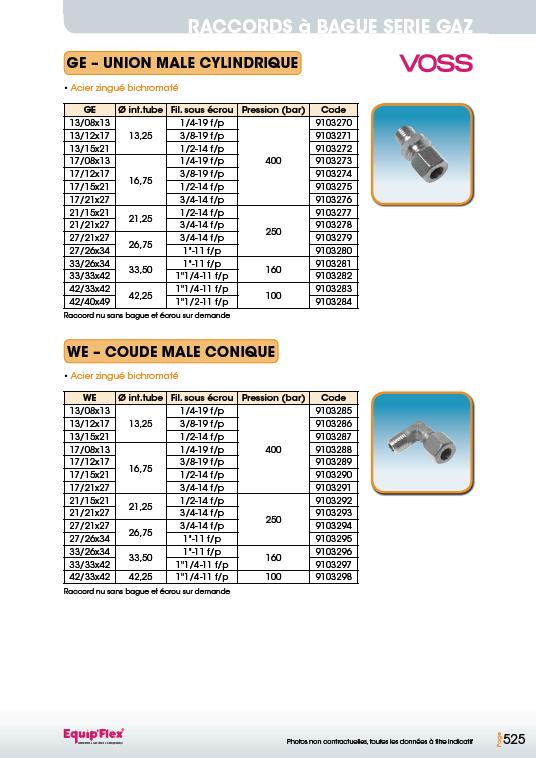 Raccords à bague série gaz union coude mâle cylindrique et conique
