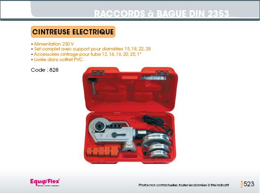 Raccords a bague DIN 2353 cintreuse électrique
