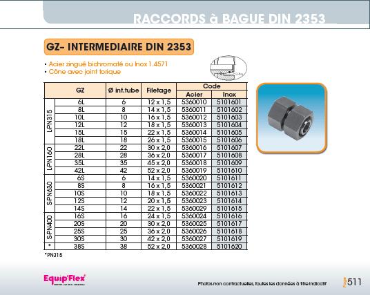 Raccords à bague DIN 2353 intermédiaire DIN 2353 GAZ