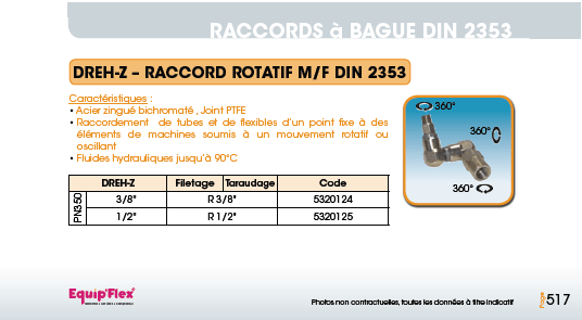 Raccords à bague DIN 2353 rotatif male femelle Z DREH-Z