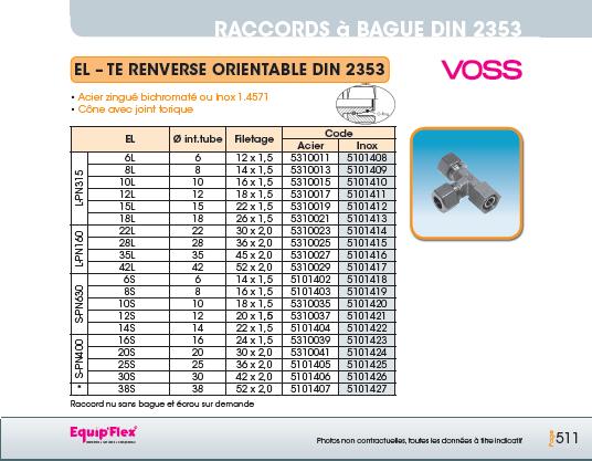 Raccords à bague DIN 2353 TE renversé orientable DIN 2353