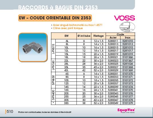 Raccords à bague DIN 2353 coude orientable DIN 2353
