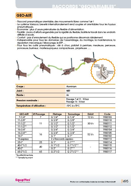 Raccords Géovariables Géo-Air