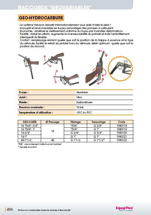 Raccords Géovariables Géo Hydrocarbure