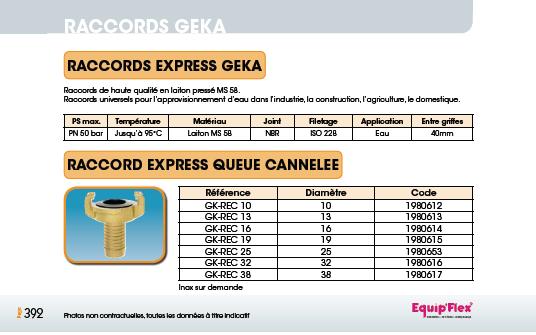 Raccords Geka queue cannelée