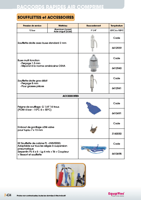 Raccords rapides air comprime accessoires et soufflette