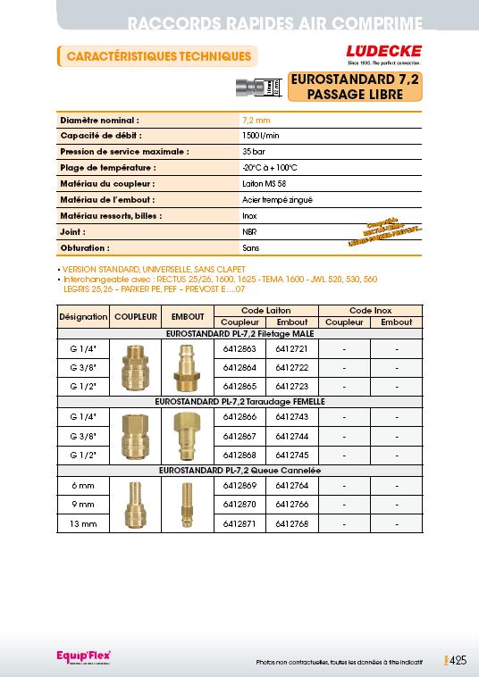 Raccords rapides air comprime EUROSTANDARD 7,2 mm passage libre