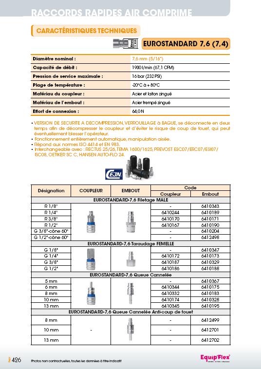 Raccords rapides air comprime EUROSTANDARD 7,6 mm