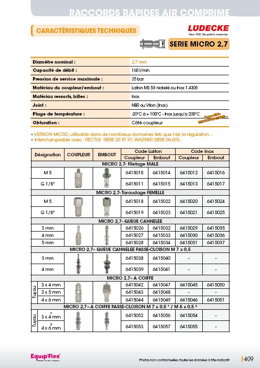 Raccords rapides air comprimé série micro 2,7 mm