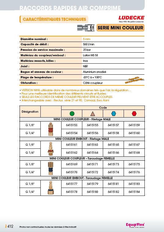 Raccords rapides air comprime série mini 5mm couleur