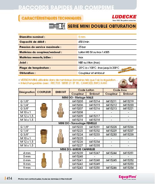 Raccords rapides air comprime série mini 5mm double obturation