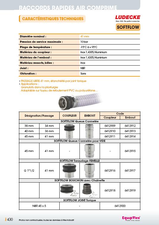 Raccords rapides air comprime soft flow 41 mm