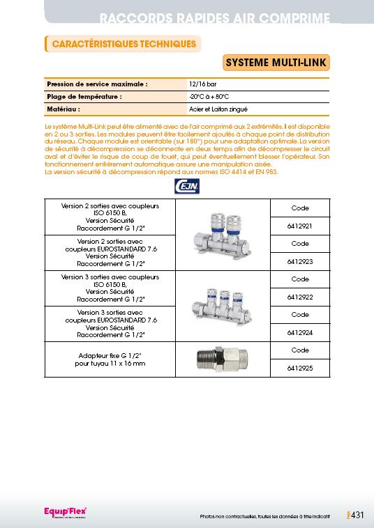 Raccords rapides air comprime système multi-link