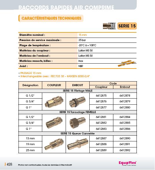 Raccords rapides air comprime série 15 mm