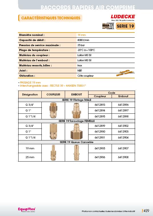 Raccords rapides air comprime série 19 mm