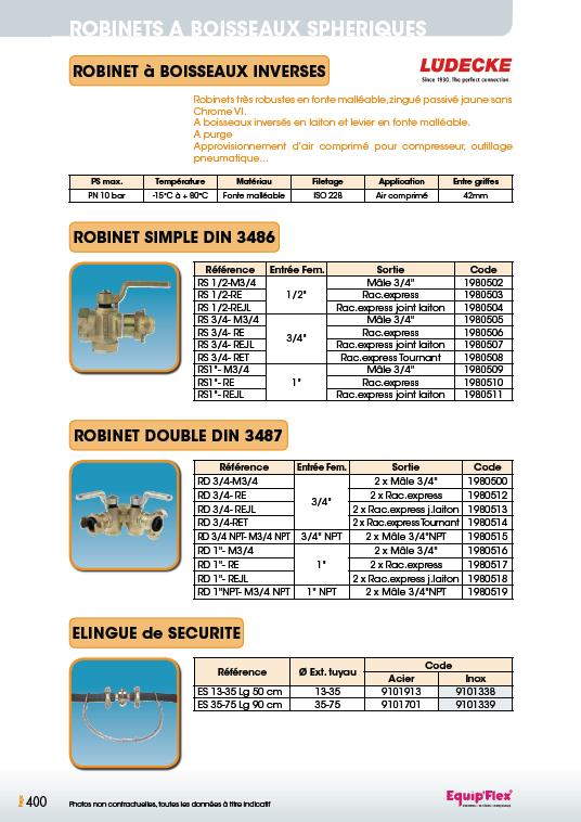 Robinet DIN 3486-3487 et elingue
