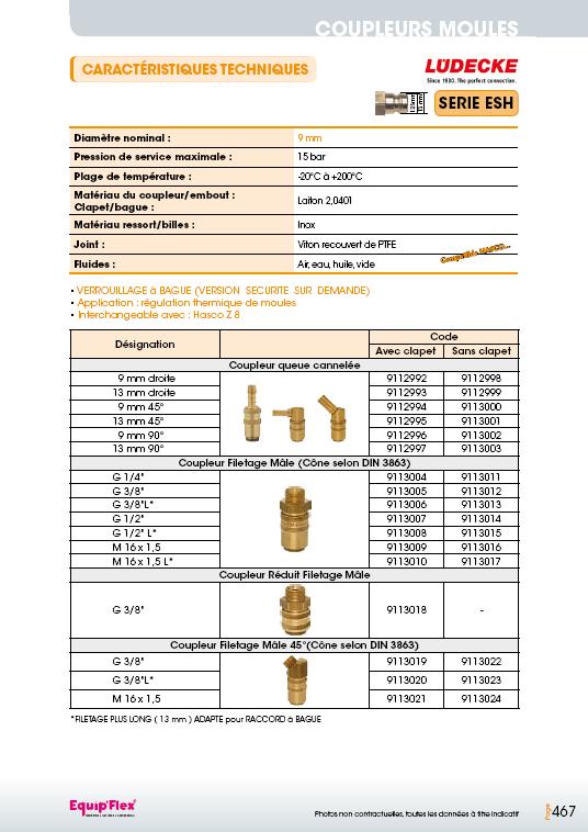 Série ESH 9 mm laiton
