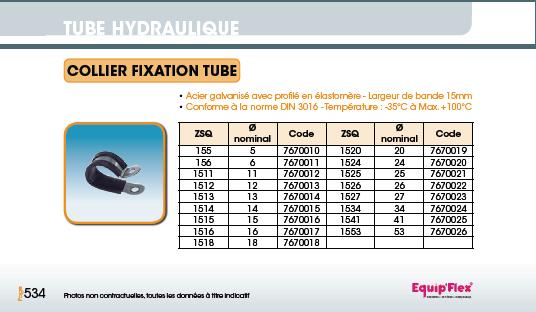 Tube hydraulique collier fixation tube ZSQ
