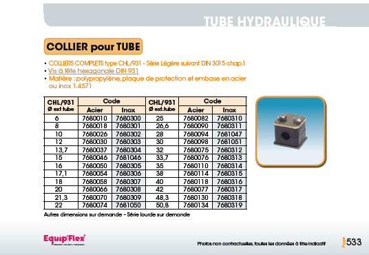 Tube hydraulique collier pour tube CHL 931
