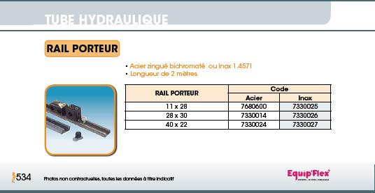 Tube hydraulique rail porteur