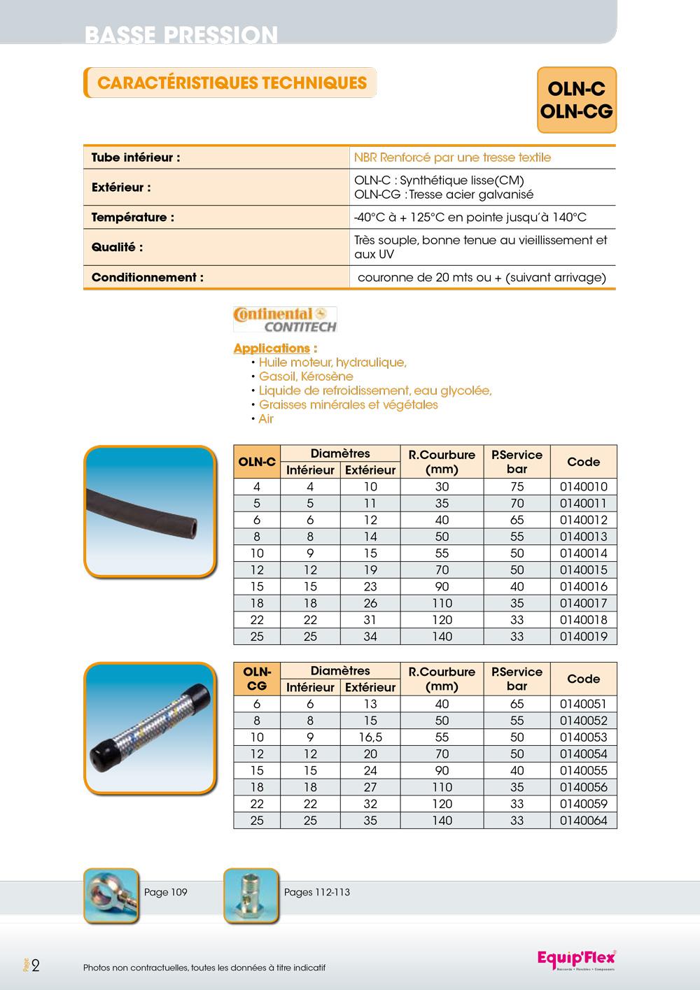 OLN - OLN tressé Applications : - Huile moteur hydraulique - Gasoil, Kérosène - Liquide de refroidissement, eau glycolée - Graisses minérales et végétales - Air