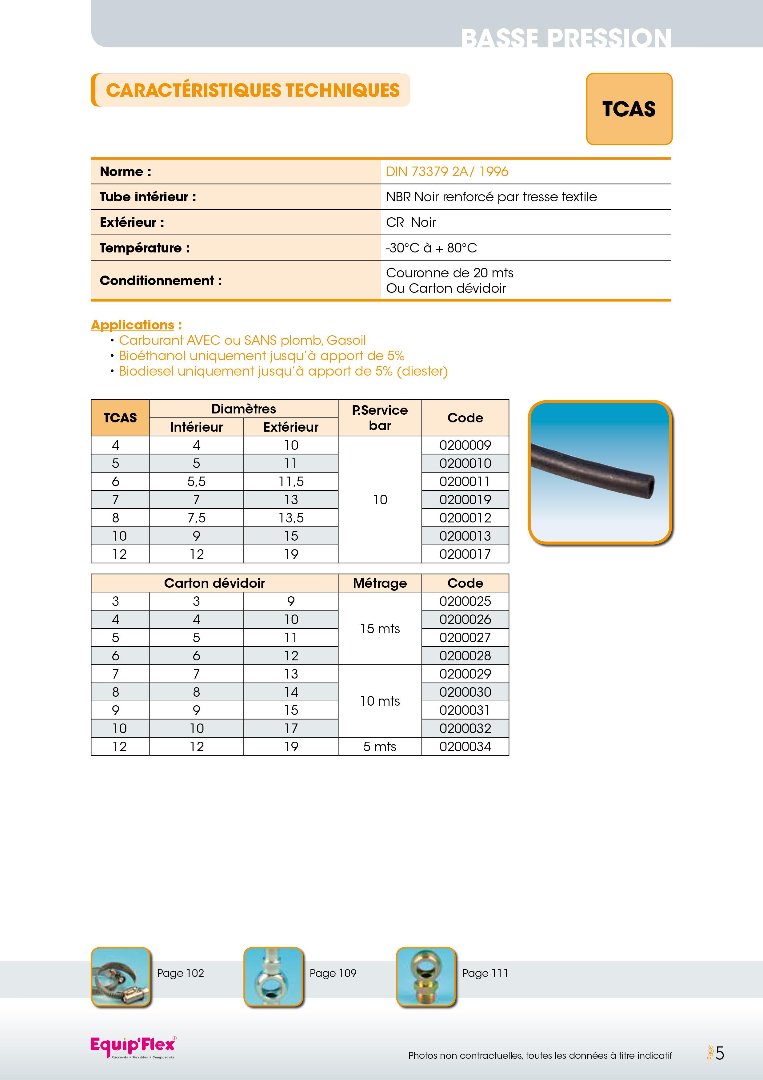 TCAS Applications :  - Carburant AVEC ou SANS plomb, gasoil - Bioéthanol uniquement jusqu'à apport de 5% - Biodiesel uniquement jusqu'à apport de 5% (diester)